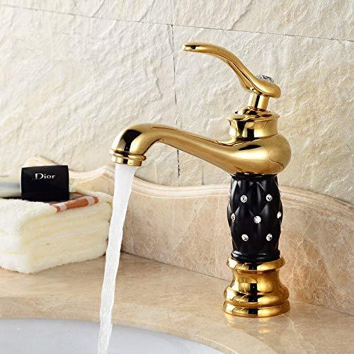 monomando de un orificio Grifos de lavabo ZGRK Grifo de lavabo de baño dorado Diseño creativo Cristal Grifos