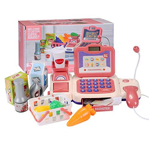 BAQSOO Caja Registradora De Juguete para Niños con Escáner, Caja Registradora De Juguete De Supermercado, Caja Registradora De Juguete con Micrófono, Dinero, Tarjeta De Crédito, Comida