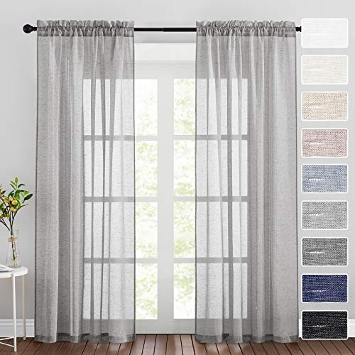 RYB HOME Grey Curtains Sheers - Linen Blended Semi Sheer Curtains Privacy Window Drapes Light Reducing for Living Room Bedroom Sunroom Patio Door, 52 inch Wide x 84 inch Long, 2 Pcs