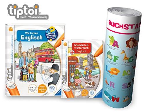 Ravensburger tiptoi boekenstarterset | Wij leren Engelse boek + woordenboek voor kinderen + letters poster Engelse dieren, tip TOI, school, cijfers, zonder pen