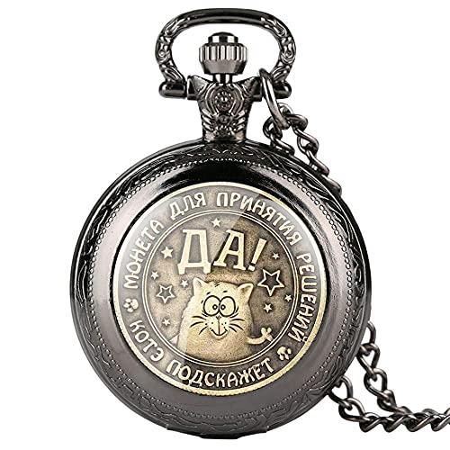 WHSW Reloj de Bolsillo Reloj clásico con Colgante Vintage, Monedas de Recuerdo Rusas Personalizadas Reloj de Bolsillo de Cuarzo Collar de Hombre Relojes Casuales Reloj Masculino Regalos, Bronce