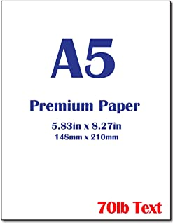 "Premium A5 (8.3""x 5.83"") Printer Paper - 70lb Text (105 GSM) Bright White Paper (100 Sheets)"
