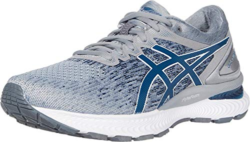 ASICS Men's Gel-Nimbus 22 Knit Running Shoes, 10.5M, Piedmont Grey/MAKO Blue