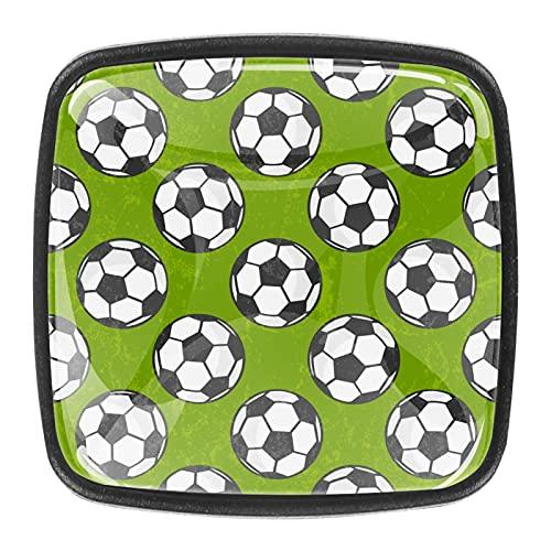 (4 piezas) pomos de cajón para cajones con tiradores de cristal para gabinete de armario, oficina, armario, deporte, fútbol, 35 mm, color verde