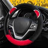 XVBTR Housse de volant pour femmes Cartoon volant Cubre Volante Auto accessoires de voiture en peluche housse de roue CaseFunda Volanterouge