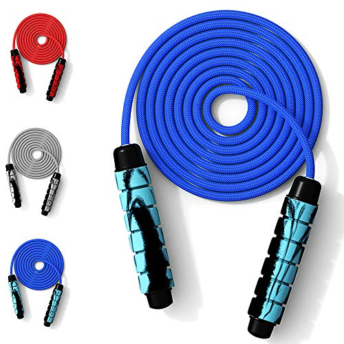 XGzhsa Cuerda Saltar comba Adulto, Saltar la Cuerda de Fitness, Longitud de Cuerda de Salto Ajustable ponderada con Mango Suave para Bajar de Peso Ejercicio físico Entrenamiento Deportivo (Azul)
