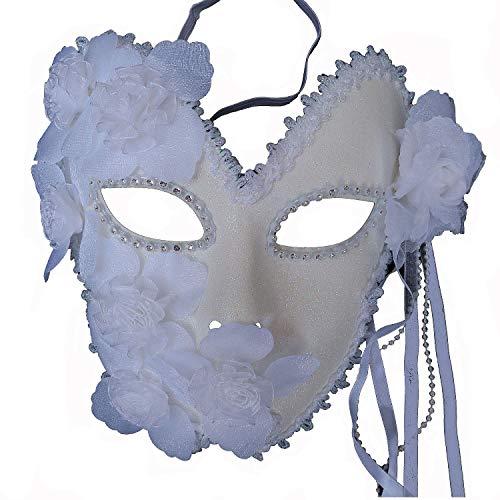 Flower Venetian Masquerade Full Face Lace Women Eye Mask for Costume Mardi Gras (White)