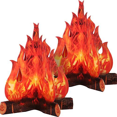 3D Dekorative Pappe Lagerfeuer Herzstück Künstliches Feuer Gefälschte Flamme Papier Party Dekorative Flamme Fackel (2 Set)