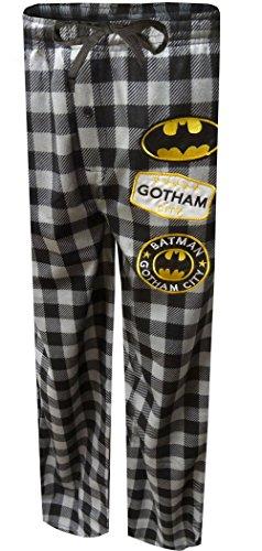 Bioworld Merchandising Men's Batman Modern Flannel Buffalo Plaid Lounge Pants (Medium) Gray