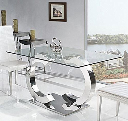 Channel Glass Dining Table only Silver Chrome C Shaped Table   160 x 90cm 6 Seater Dining Table by Modern Furniture Direct