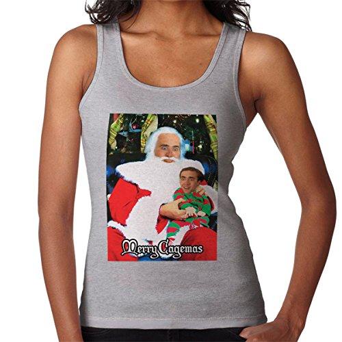 Vrolijke Cagemas Santa Knee Nicolas kooi Kerstmis Damesvest