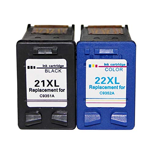 YYCH Tinta de Impresora 21 22 XL Cartucho de Tinta para HP 21 22 HP22 para HP DeskJet F2280 F2180 F4180 F300 F380 F2100 F2200 Impresora Productos de Oficina (Color : 21 BK and 22 Color)