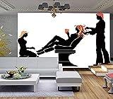 Papel tapiz para dormitorio de niños Impresión en HD Salón de belleza abstracto Fondo de tienda Cart Pared Pintado Papel tapiz 3D Decoración dormitorio Fotomural sala sofá pared mural-300cm×210cm