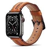Tasikar Correas Compatible con Correa Apple Watch 44mm 42mm, Banda de reemplazo de Cuero Genuino Compatible con iWatch SE Series 6 5 4 3 2 1 - (42mm/44mm, Marron Oscuro)