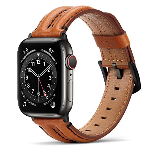 Tasikar Straps Compatible with Apple Watch Strap 42mm 44mm for Apple Watch SE Series 6 5 4 3 2 1, Genuine Leather Replacement Band for Men Women - (42mm 44mm, Dark Brown)