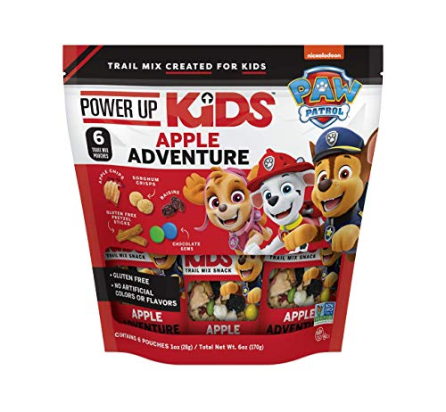 Power Up Kids Trail Mix PAW Patrol GlutenFree NonGMO No Artificial Colors or Flavors NoNut SchoolSafe Snack 1.2oz Individual Servings, Apple Adventure, 6 Count