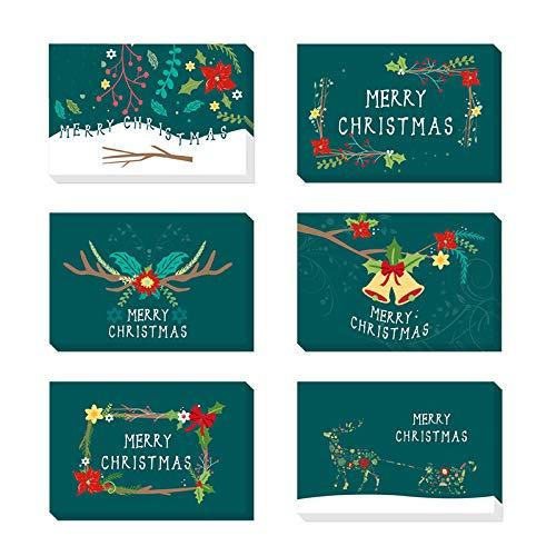 24 pezzi Biglietto Auguri Natale con Buste e Adesivi da Busta,Cartoline di Natale Nota Vuota Carta,Pacco Cartoline di Natale,Natale Inviti Lettera,Biglietti Natalizi Vintage (green)
