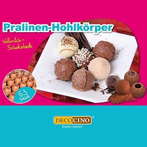 DECOCINO Pralinen-Hohlkörper (63 Stk) – Vollmilch Schokolade – Pralinen-Form |Pralinen selber machen – ideale Pralinen-Hohlkugeln für Weihnachts-Pralinen