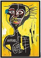 児童室の壁の芸術の写真デコレーション、黒人男性は、HDを印刷絵画イエローキャンバスに絵画の現代バスキアポスター肖像画、抽象ストリート・グラフィティアートポスター、フレームレス,50×70cm