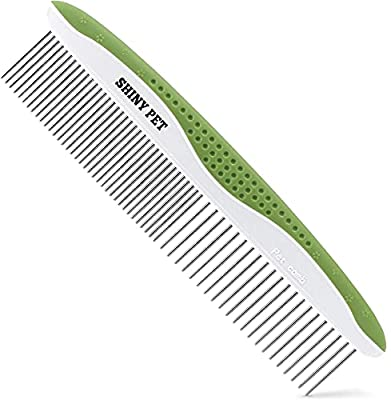 Dog Comb for Removes Tangles and Knots - Cat Comb for Removing Matted Fur - Grooming Tool with Stainless Steel Teeth and Ergonomic Grip Handle - Pet Hair Comb for Home Grooming Kit - Ebook Guide by SHINY PET