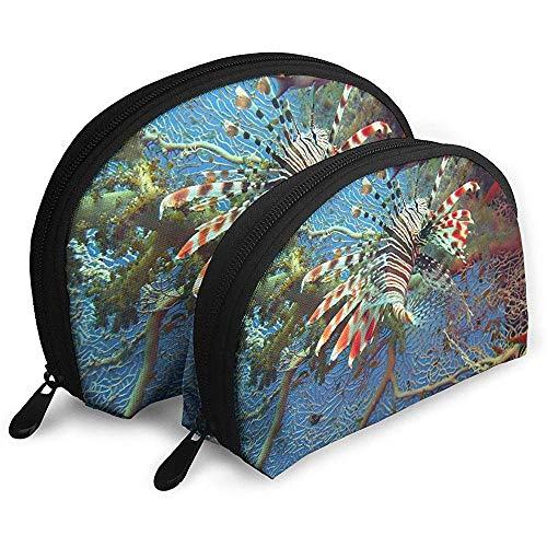 Lionfish Unterwasserkoralle Tragbare Taschen Kosmetiktasche Kulturbeutel, Tragbare Multifunktions-Reisetaschen Kleine Make-up-Clutch-Tasche mit Reißverschluss