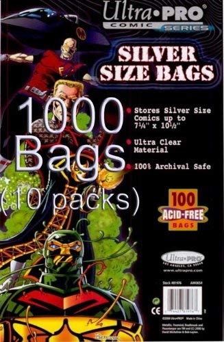 Comic Book Bag - Ultra Pro - Silver Size - Case (10 Packs of 100 Bags)