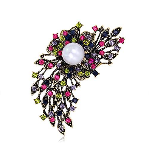 Zhantie Broschen Strass Perle Pin Glänzend Hell Kristall Damen Corsage Kleid Zubehör für Frauen