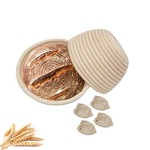 7 Inch Round Bread Banneton Proofing Basket, LinkMall Natural Vine Hand-Crafted Bread Basket for Home/Bakery Bread Baking - 2 Basekt+4 Linen Liner.