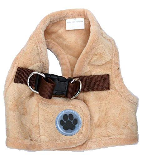 Lanyar Lovely Heart Fleece Padded Winter Harness Vest for Pets, Large: Neck 14' , Beige