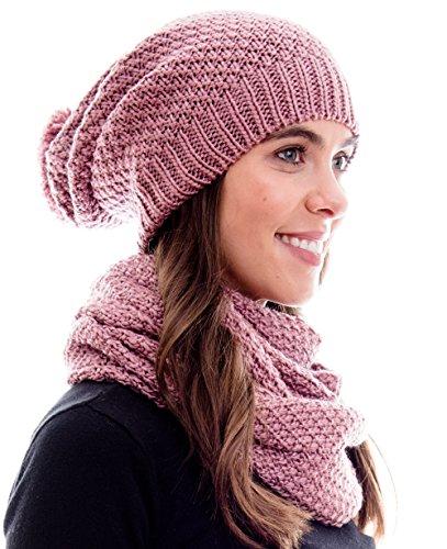 Hilltop - Set invernale - Sciarpa invernale e berretto in maglia abbinato/beanie con pompon - disegni differenti, inverno set:rosa scuro
