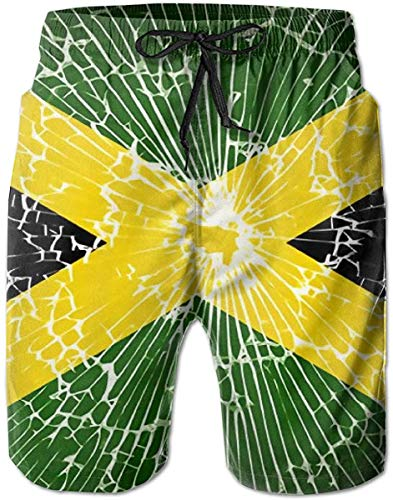 BAOQIN Badehose Strandshorts Men's Swim Trunks Jamaica Flags with Broken Glass Surfing Beach Board Shorts Swimwear