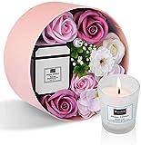 Materiale- fiore di sapone di rosa. Le candele profumate sono realizzate con cera di fagioli naturale. Sicuro e non tossico. La dimensione dei fiori nella confezione regalo è 16,2 cm * 16,2 cm * 8,2 cm. Il peso della candela profumata è di 5 * 6 cm, ...