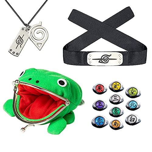 Naruto Accesorios Konoha Rebellion diadema rana portamonedas, collar colgante Akatsuki anillo conjunto de anime Cosplay