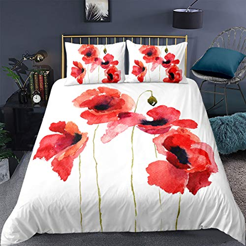 Feelyou Watercolor Flower Comforter Cover Queen,Poppies Wildflowers Nature Meadow Painted Decorative 3 Pieces Bedding Set(1 Duvet Cover Set 2 Pillow Shams),Orange Red Green Brown White with Zip Ties