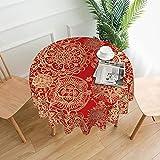 Mantel redondo de poliéster lavable de 152 cm, mantel decorativo de tela para mesa de comedor, buffet fiestas y camping, mandala rojo y dorado