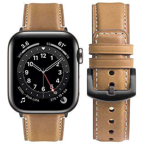 Correa Compatible con Apple Watch 38 mm 40 mm 42 mm 44 mm, Fullmosa Yola Serie Pulsera de Piel Bruñida para iWatch SE Series 6/5/4/3/2/1, Marrón Claro + Hebilla Gris 40mm