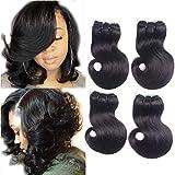Brésilienne Vierge Corps Cheveux 4 Bundles Vague de Corps Sans Traitement Naturel Couleur 100% Extensions de Cheveux Humains (8 8 8 8 Pouces)