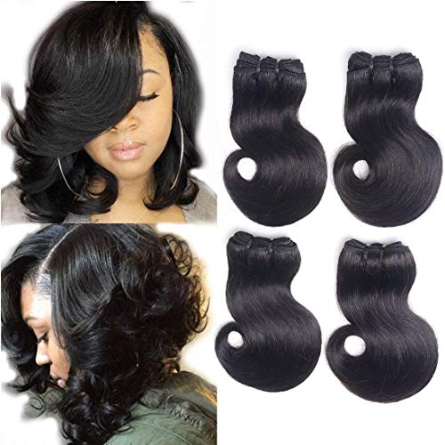 8' Short Body Wave Bundles Brazilian Virgin Human Hair Extension 4 Bundles Short Wavy Hair Weave Body Wave Short Curly Hair Weft Natural Color (8 8 8 8 Inch)