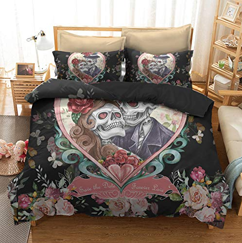 Heart Shaped Couple Skull Bedding Nordic Style, Soft Polyester Duvet Cover,With Zipper, With Two Pillowcases 135X200Cm