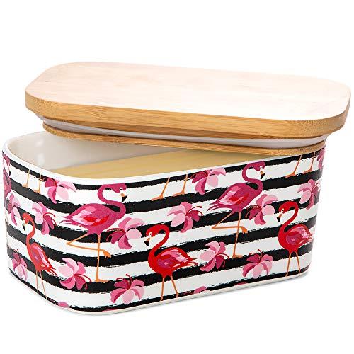 Butterdose mit Deckel für Arbeitsplatte oder Kühlschrank, groß, luftdicht, mit Deckel aus Keramik, für 2 Stäbchen, mit Bambus-Deckel, moderner Flamingo-Küchendekor-Behälter