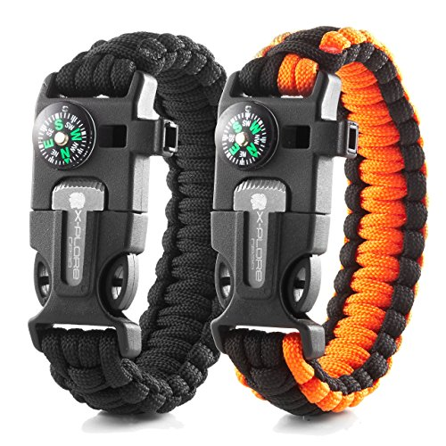 X-Plore Gear Emergency Paracord Bracelets | Set of 2| The Ultimate Tactical Survival Gear| Flint Fire Starter, Whistle, Compass & Scraper | Best Wilderness Survival-Kit - Black(M)/Orange(M)