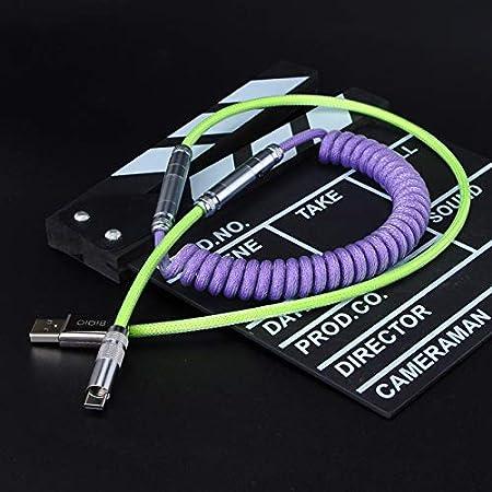 Cable USB Tipo C de Paracord en Espiral Personalizado con Conector XLR para Teclado Mecánico Versión Avanzada de 80cm (Verde-Morado-Verde)