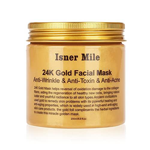 Maske, Peel Mask Hypoallergenic, 24K Gold Gesichtsmaske, Peel Off Maske für Tiefenreinigung Gesicht Blackhead Remover Feuchtigkeit Anti Aging Zur Faltenbehandlung und Spa Kühlung Beruhigende 200Ml