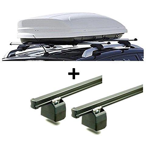 Dachbox VDPMAA460 Weiss abschließbar 460Ltr + AURILIS PRO Dachgepäckträger kompatibel mit Citroen Jumper 1994-2006