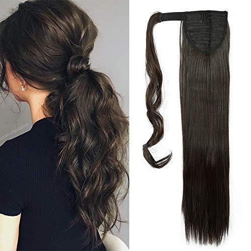 Coleta Postiza de Pelo Sintético Liso con Clips Extensiones de Cabello Invisible y Natural Ponytail Hair Extension #Marrón Oscuro (65cm,100g)