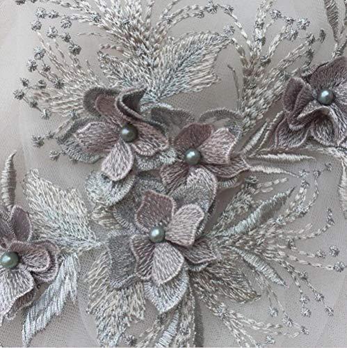1 pieza marfil/camafeo/negro/rojo/Champange aplique de encaje con cuentas adornos de encaje bordado parches para vestido de novia coser en accesorios de encaje