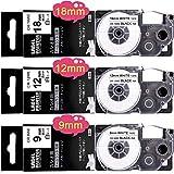 互換 ネームランド カシオ テプラテープ 白 XR-9WE XR-12WE XR-18WE カシオ ネームランドテープ 9mm 12mm 18mm 3個セット, KL-TF7 KL-FR2 KL-G2 KL-T70 KL-P40 KL-M7 汎用