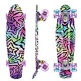 Caroma Skateboard Completo para Principiantes, 22 Pulgadas Monopatín Retro Mini Cruiser con Ruedas Led Light Up para Adolescentes Niñas Niños Adultos