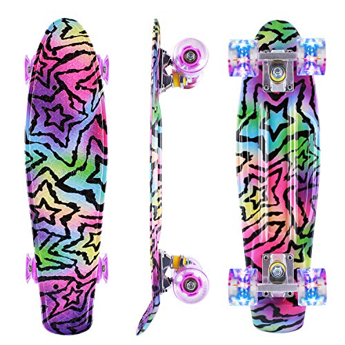 Caroma Skateboards für Anfänger, 22 Zoll/55cm komplettes Mini Cruiser Skateboard mit LED Light Up Wheels für Kinder Teens Girls Boys