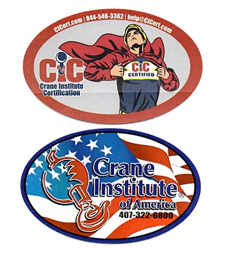 Crane Institute of America Hardhat Stickers/Decals, Value Pack. Great for the Roughneck, Oil Worker, Construction Worker. Looks great on a Helmet, Lunchbox, or Toolbox.